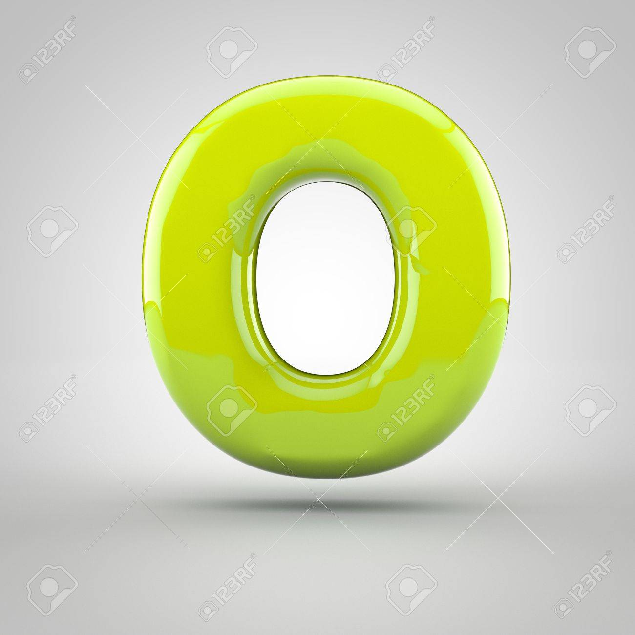 Glossy Lime Paint Letter O Uppercase 3d Render Of Bubble Font