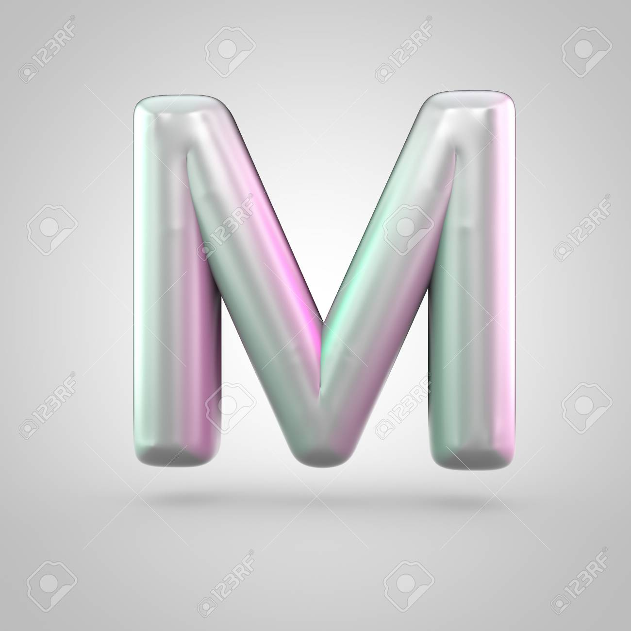 Glossy Perl Letter M Uppercase 3d Render Of Bubble Font With
