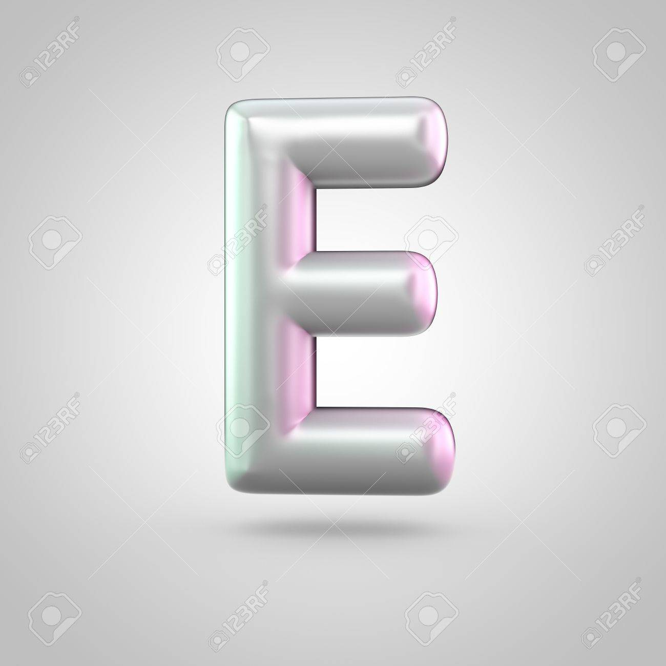 Glossy Perl Letter E Uppercase D Render Of Bubble Font With