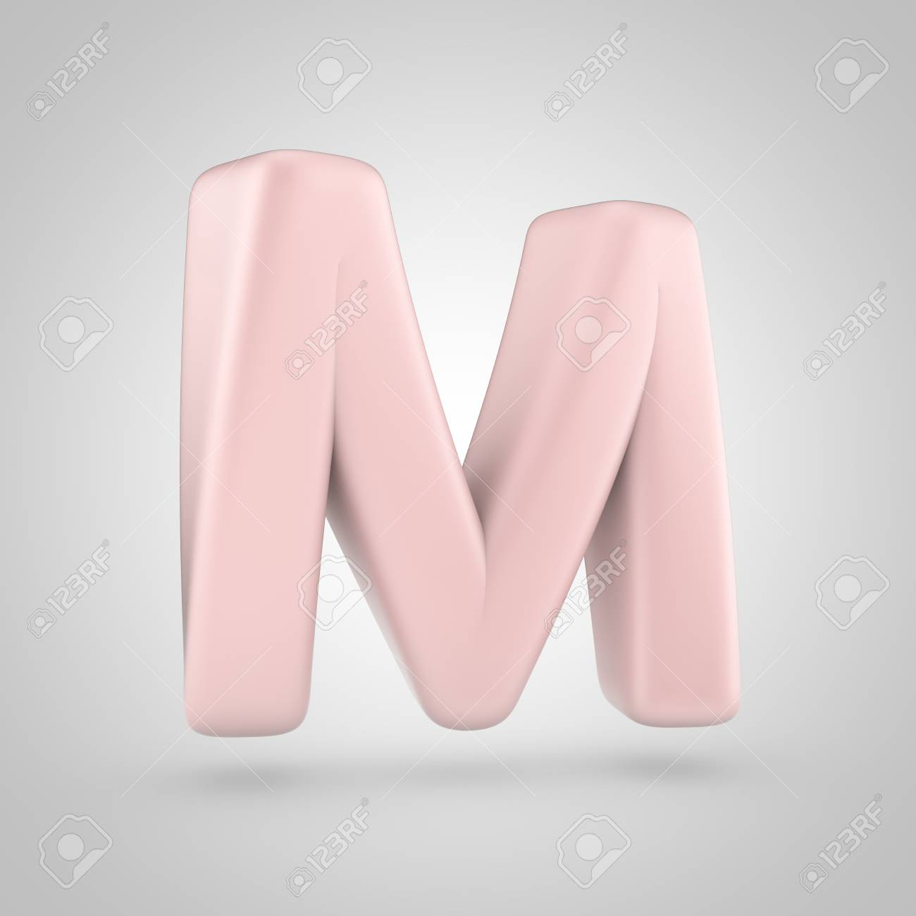 Millenium Pink Color Letter M Uppercase. 3D Render Of Bubble.. Stock ...