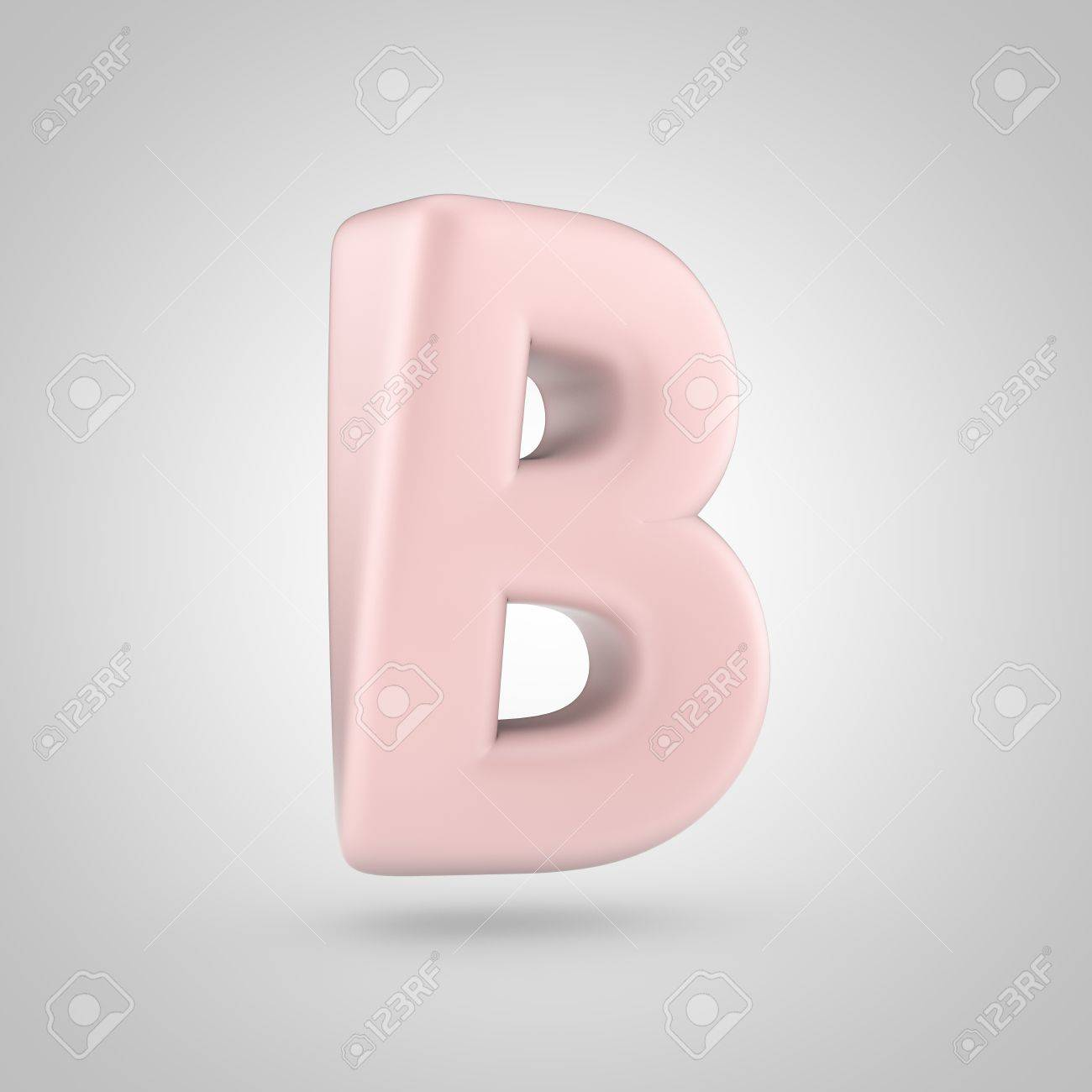 Millennium Pink Color Letter B Uppercase. 3D Render Of Bubble ...