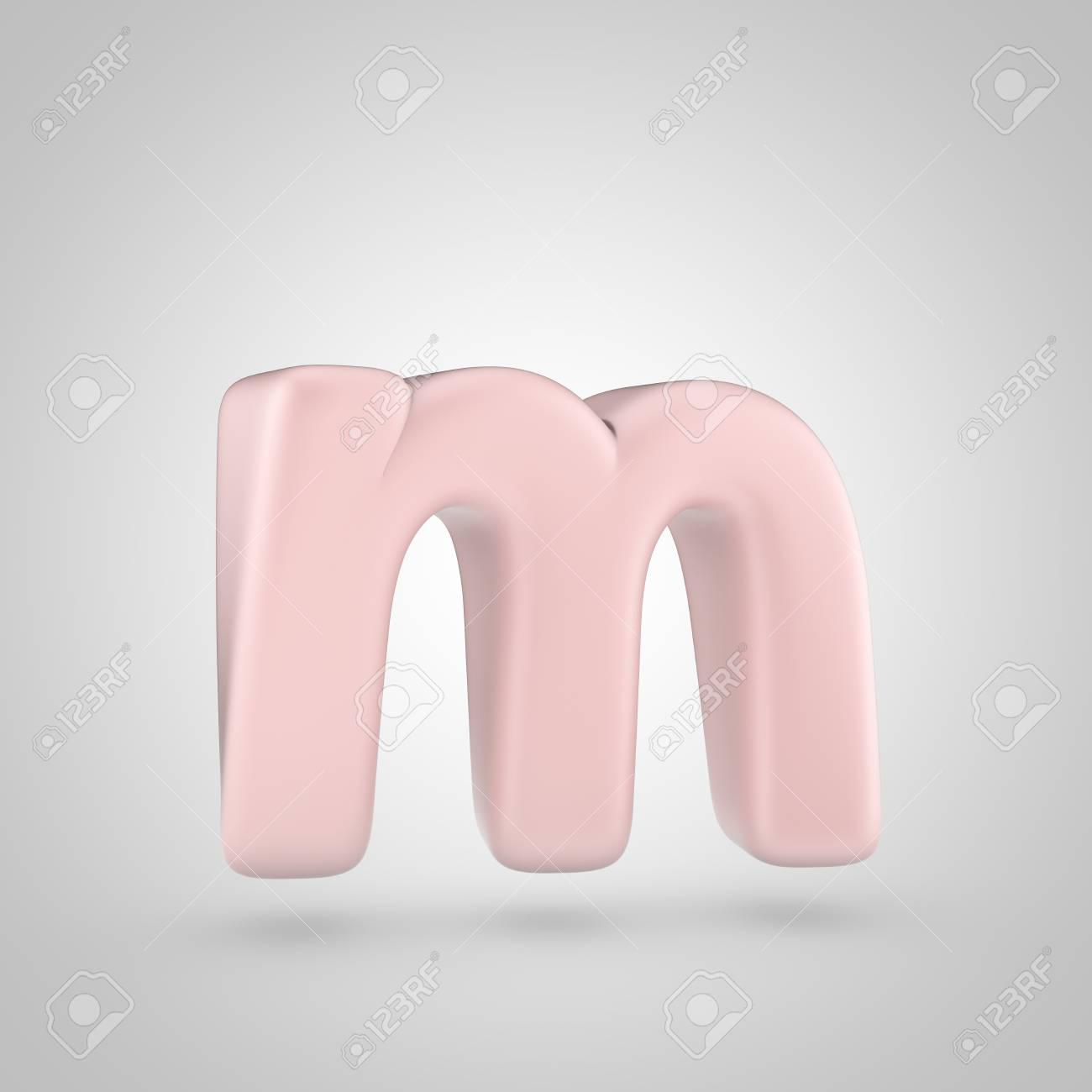 Millennium Pink Color Letter M Lowercase 3d Render Of Bubble