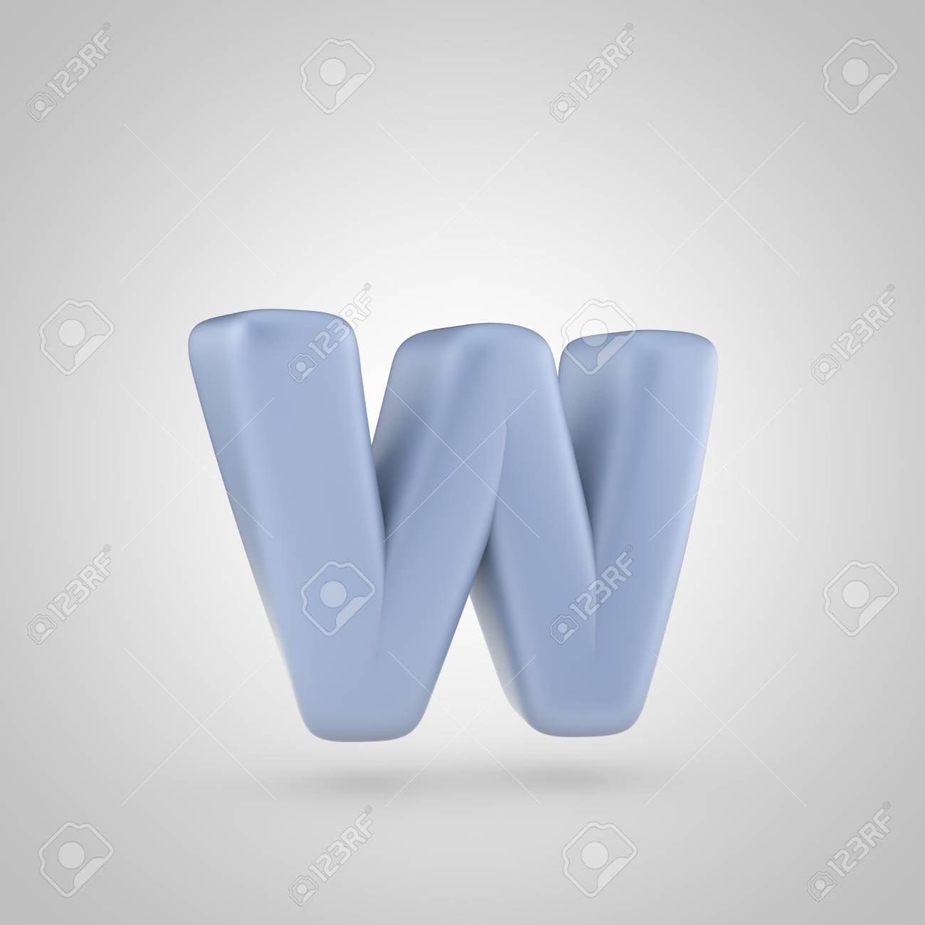 Serenity Color Letter W Lowercase 3d Render Of Bubble Blue Font