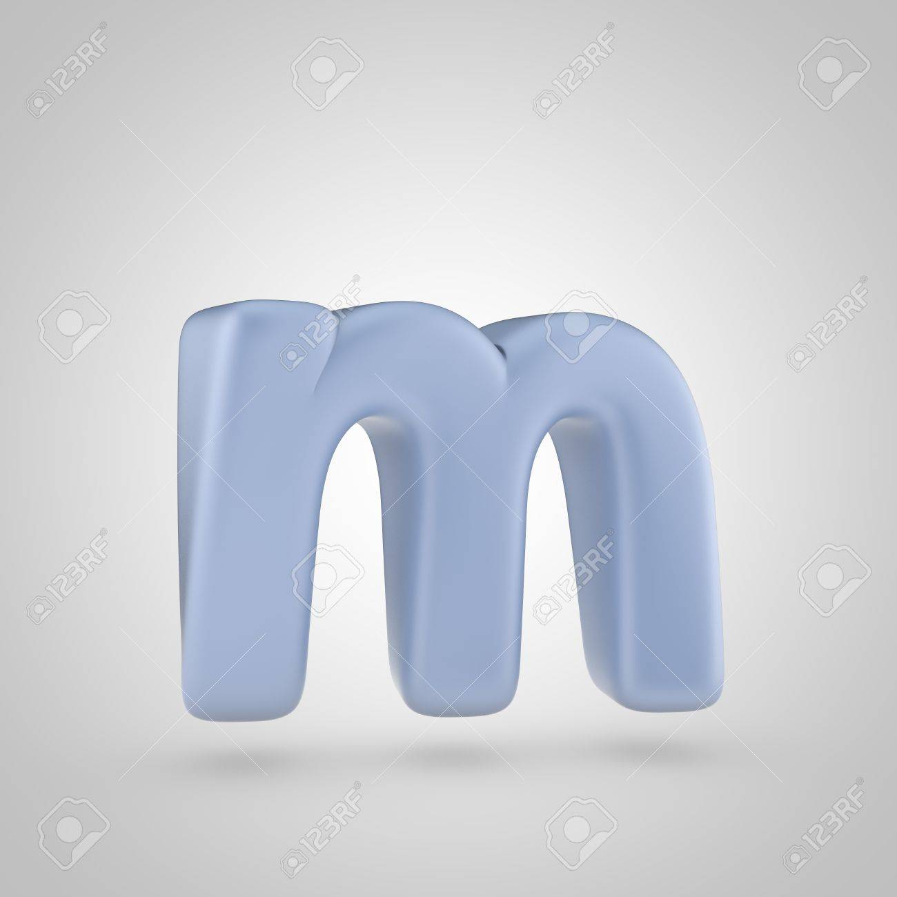 serenity color letter m lowercase 3d render of bubble blue font isolated on white background