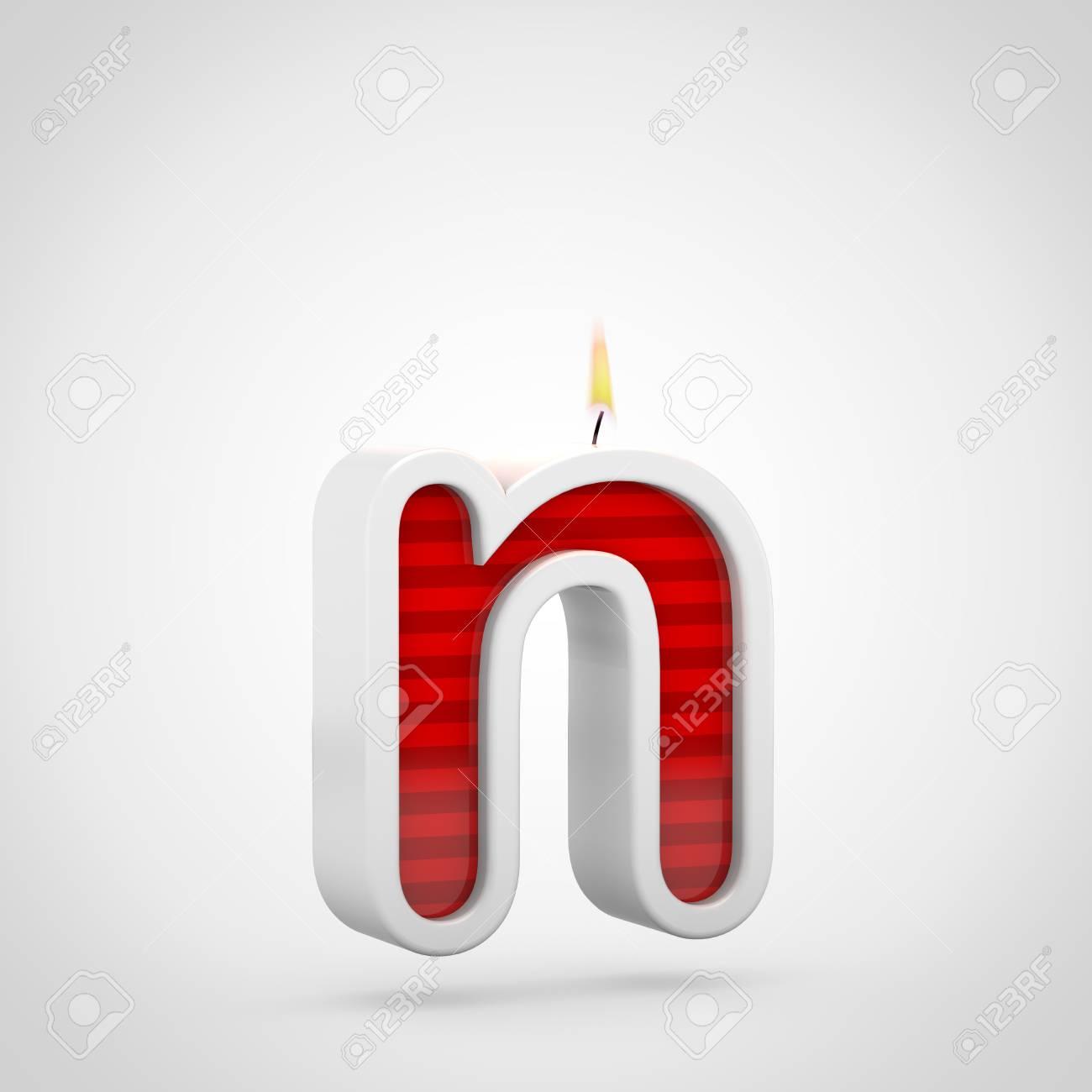 Cumpleaños Vela Letra N Minúscula 3d Rinden De Fuente Roja De La Vela De La Torta Con La Mecha Y La Llama Aisladas En El Fondo Blanco