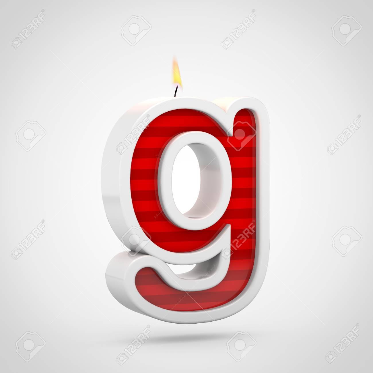 Cumpleaños Vela Letra G Minúscula. 3D Rinden De Fuente Roja De La ...