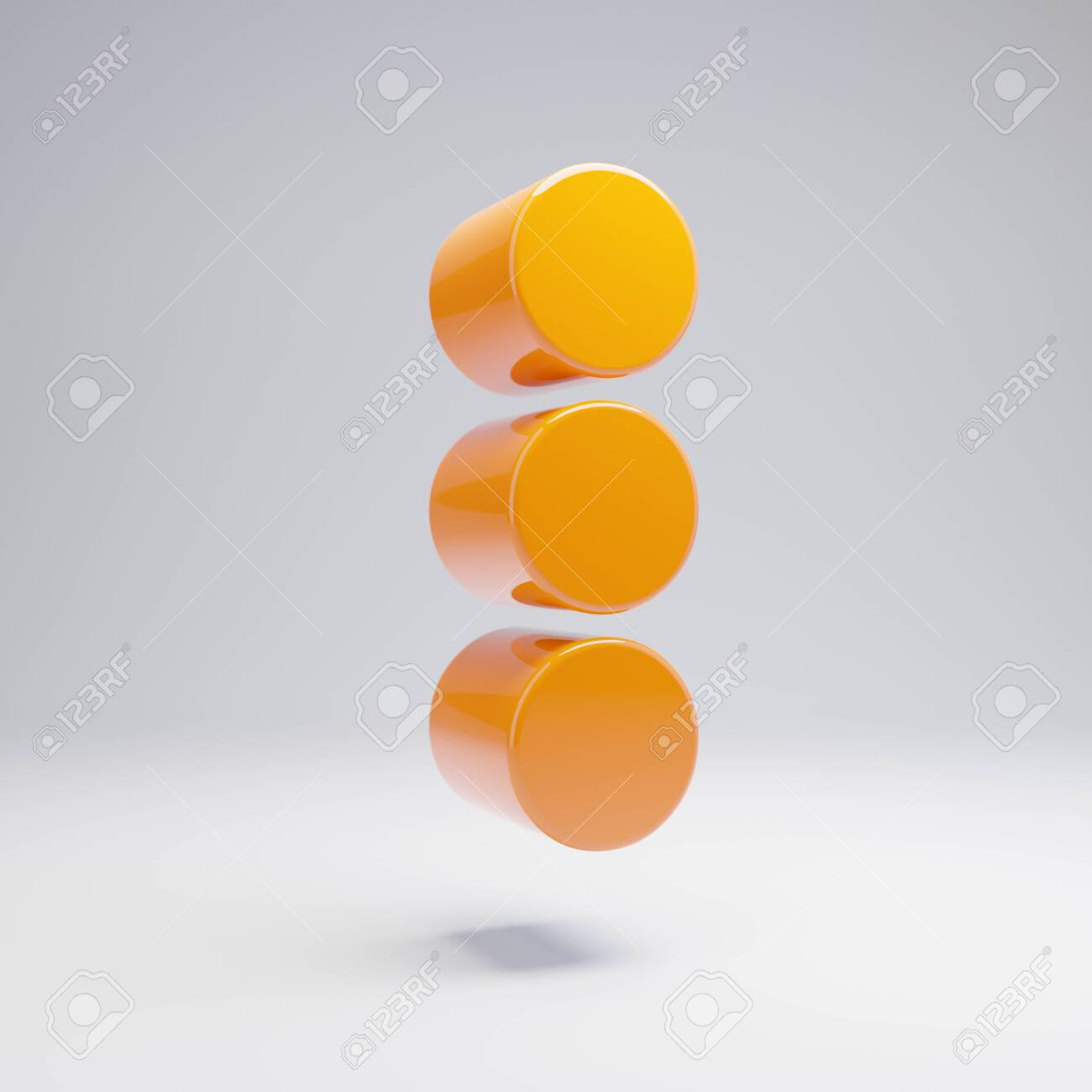 Volumetric glossy hot orange Ellipsis Vertical icon isolated