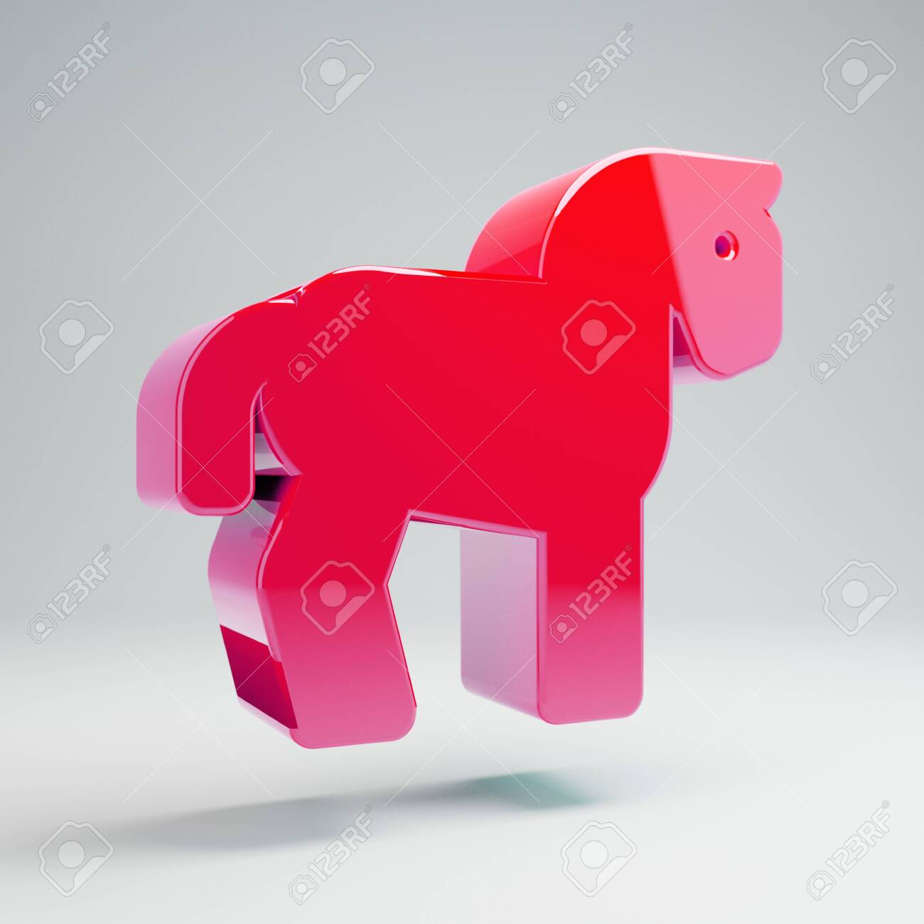Volumetric Glossy Hot Pink Horse Icon Isolated On White Background Stock Photo Picture And Royalty Free Image Image 128054733