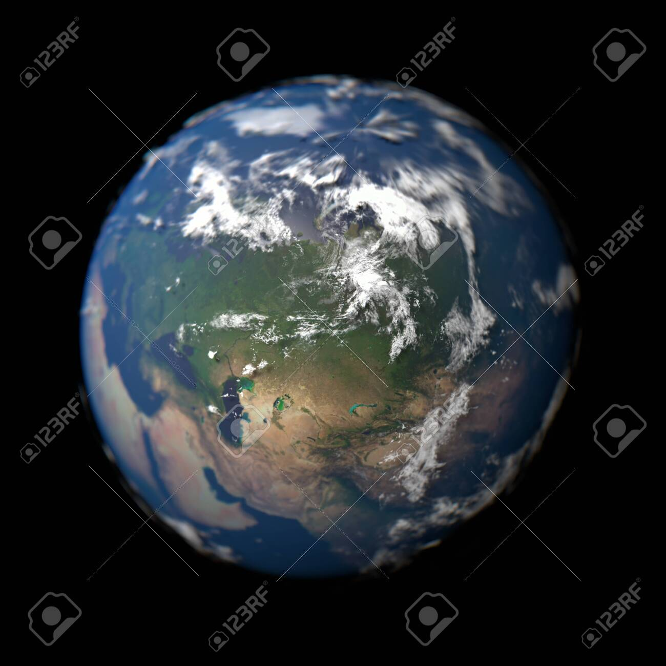 Planet Earth in macro concept with Russia in focus. 3d rendered Globe. - 129439741