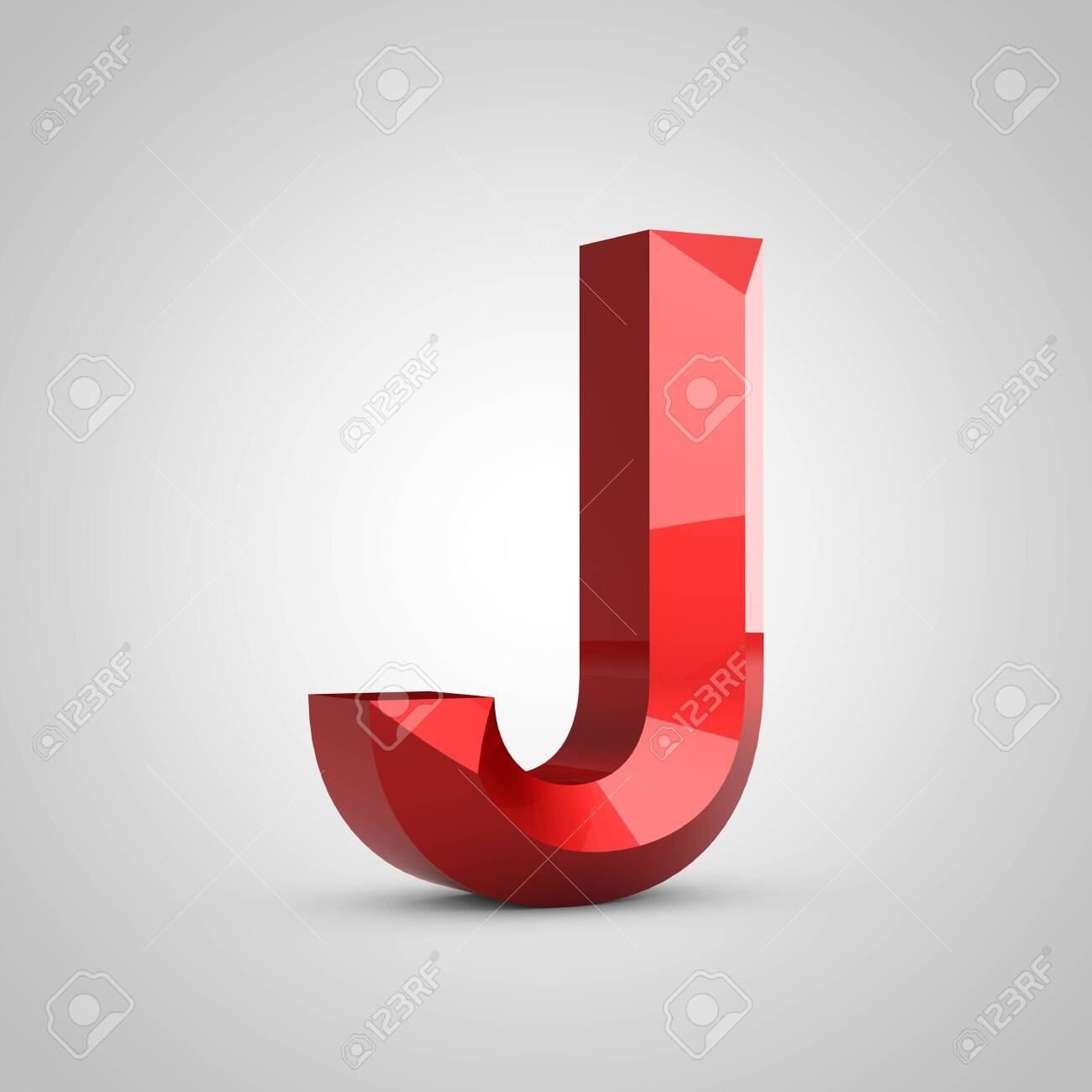 Red glossy chiseled letter J uppercase isolated on white. 3d rendered font. - 132137376