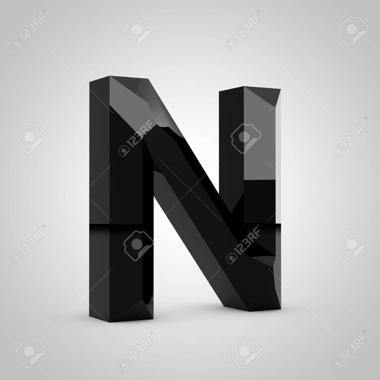 Black letter N uppercase. Chiseled glossy font isolated on white. 3d rendered alphabet. - 131213410