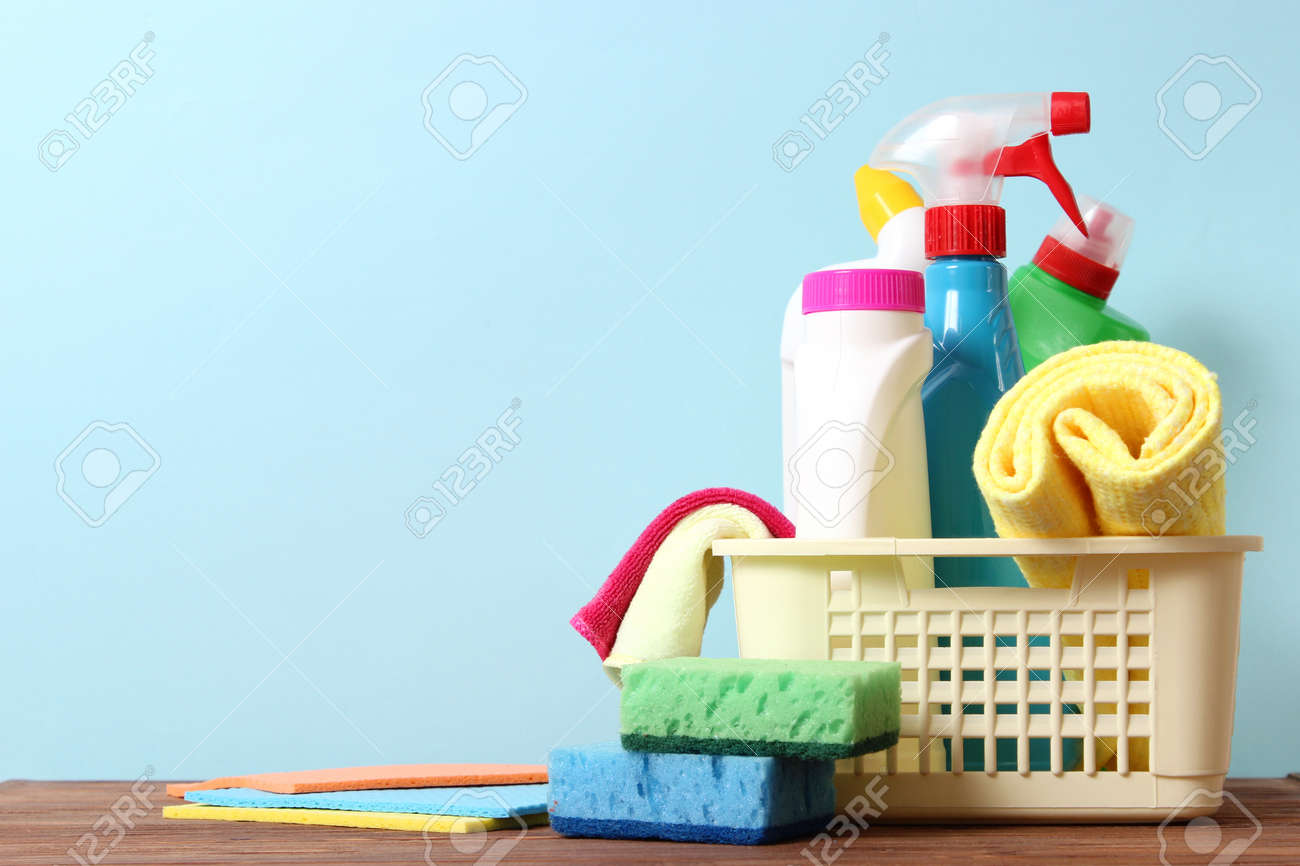 Means for cleaning and disinfection close-up on a colored background. - 168133682