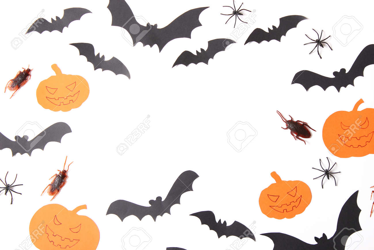 Halloween holiday background top view. Place for text - 168560863