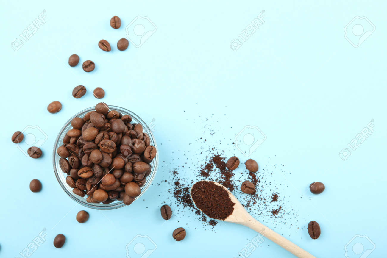 coffee beans on a colored background. Place to insert text, minimalism - 169138315