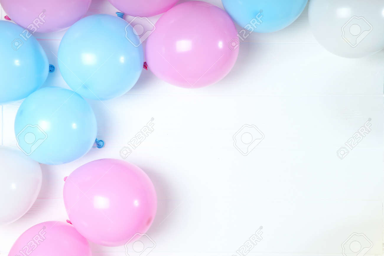 balloons in color top view. Festive background with place for text. - 168606592
