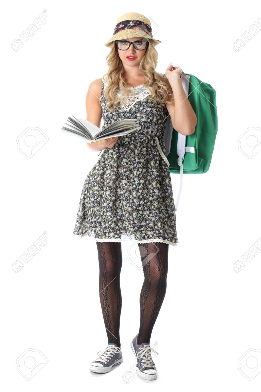 Model Released. Young Woman Reading Stock Photo - 21257170
