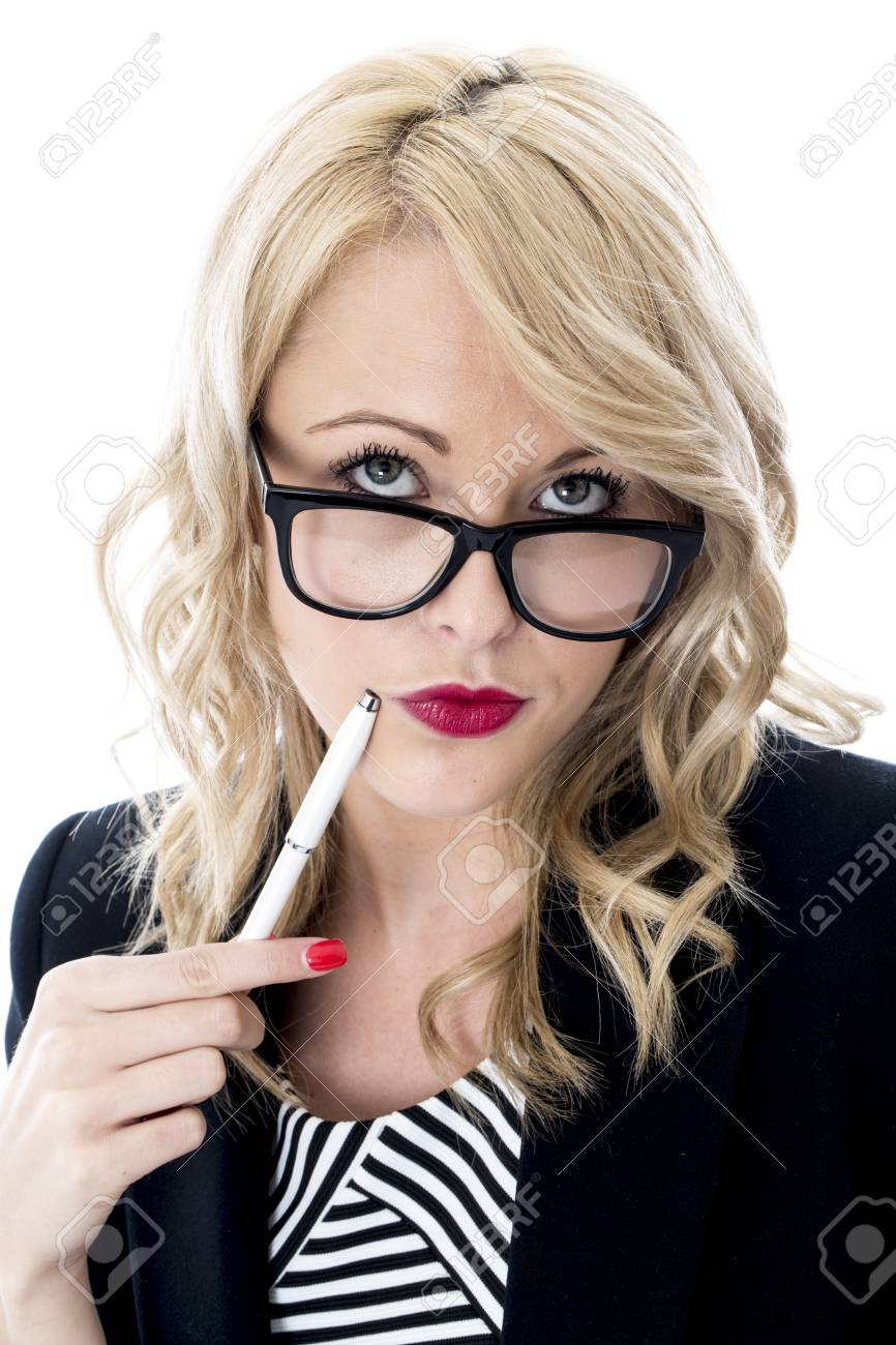Model Released. Thoughtful Young Business Woman Wearing Glasses Stock Photo - 22401042