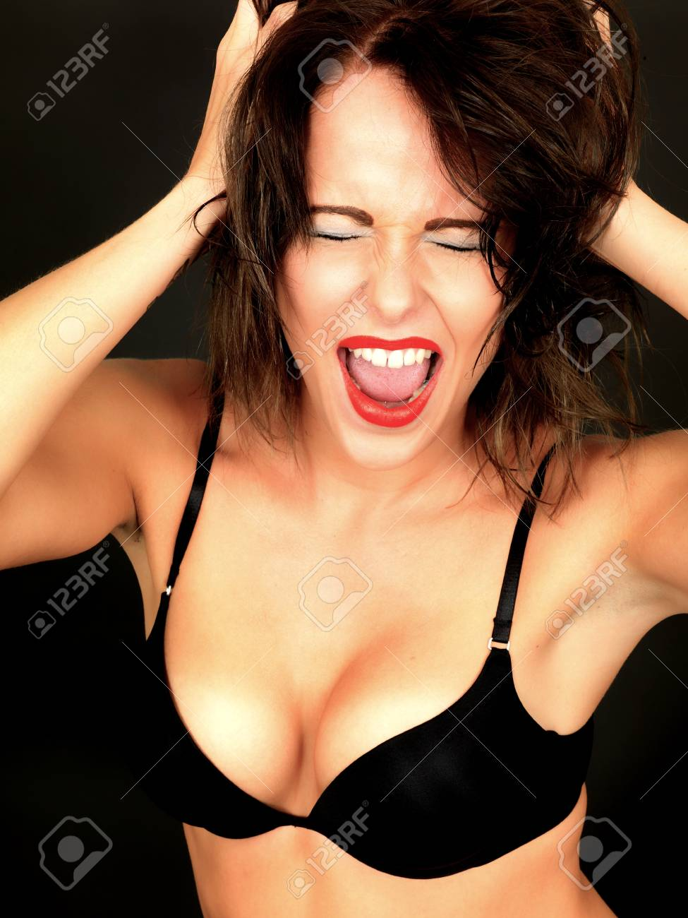 42365d5fc4831 Sexy Young Woman Wearing Black Bra Stock Photo - 30544599