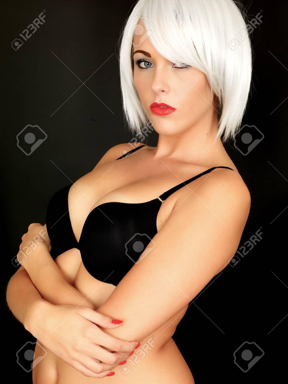 623119330eb38 Sexy young Woman Wearing Black Bra Stock Photo - 30544579