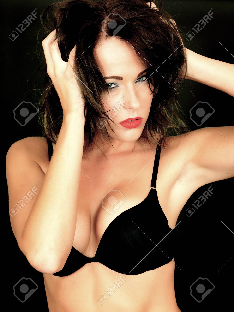 63ca7b69cb402 Sexy Young Woman Wearing Black Bra Stock Photo - 30544592