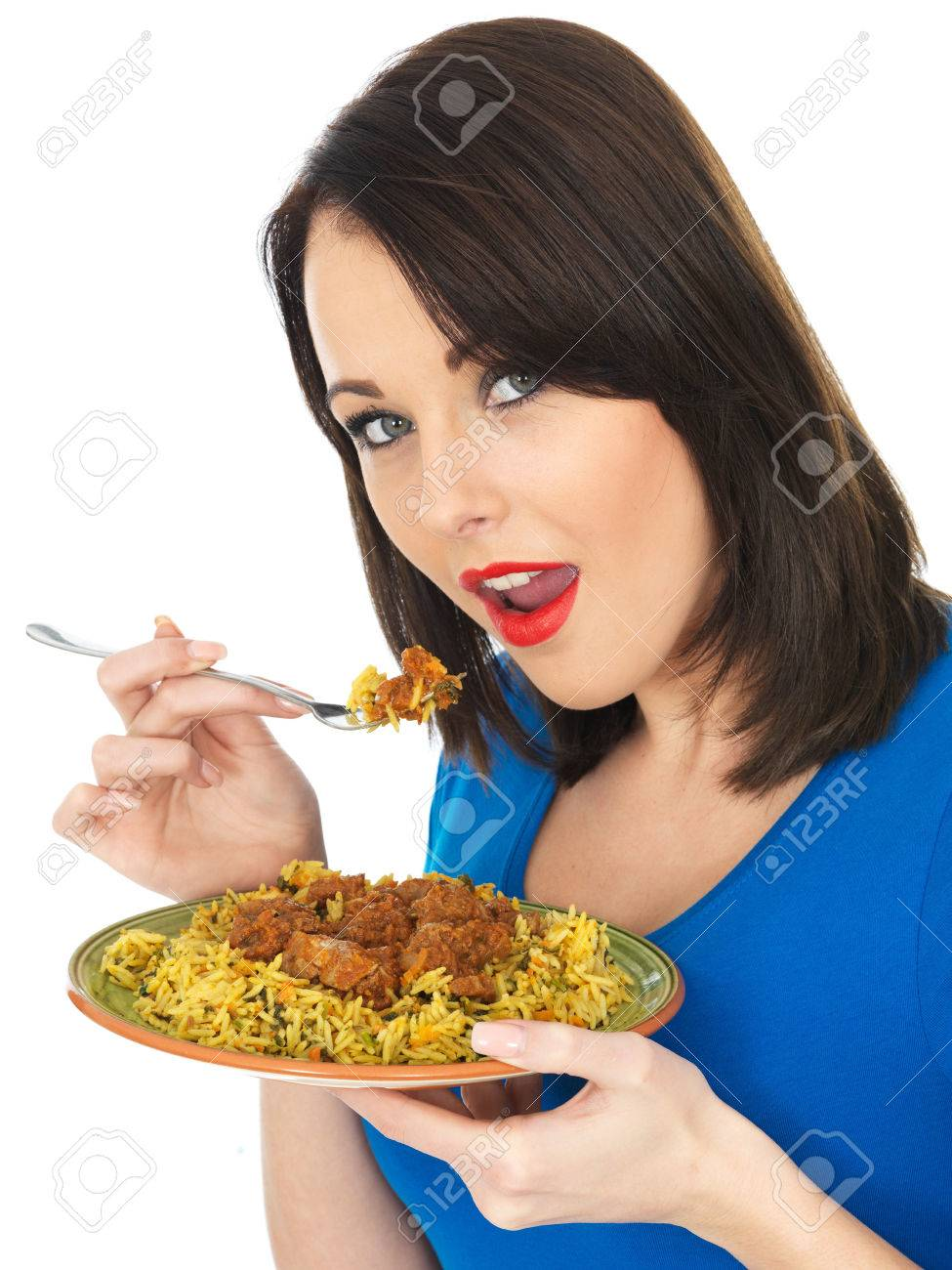Image result for stock image woman eating curry