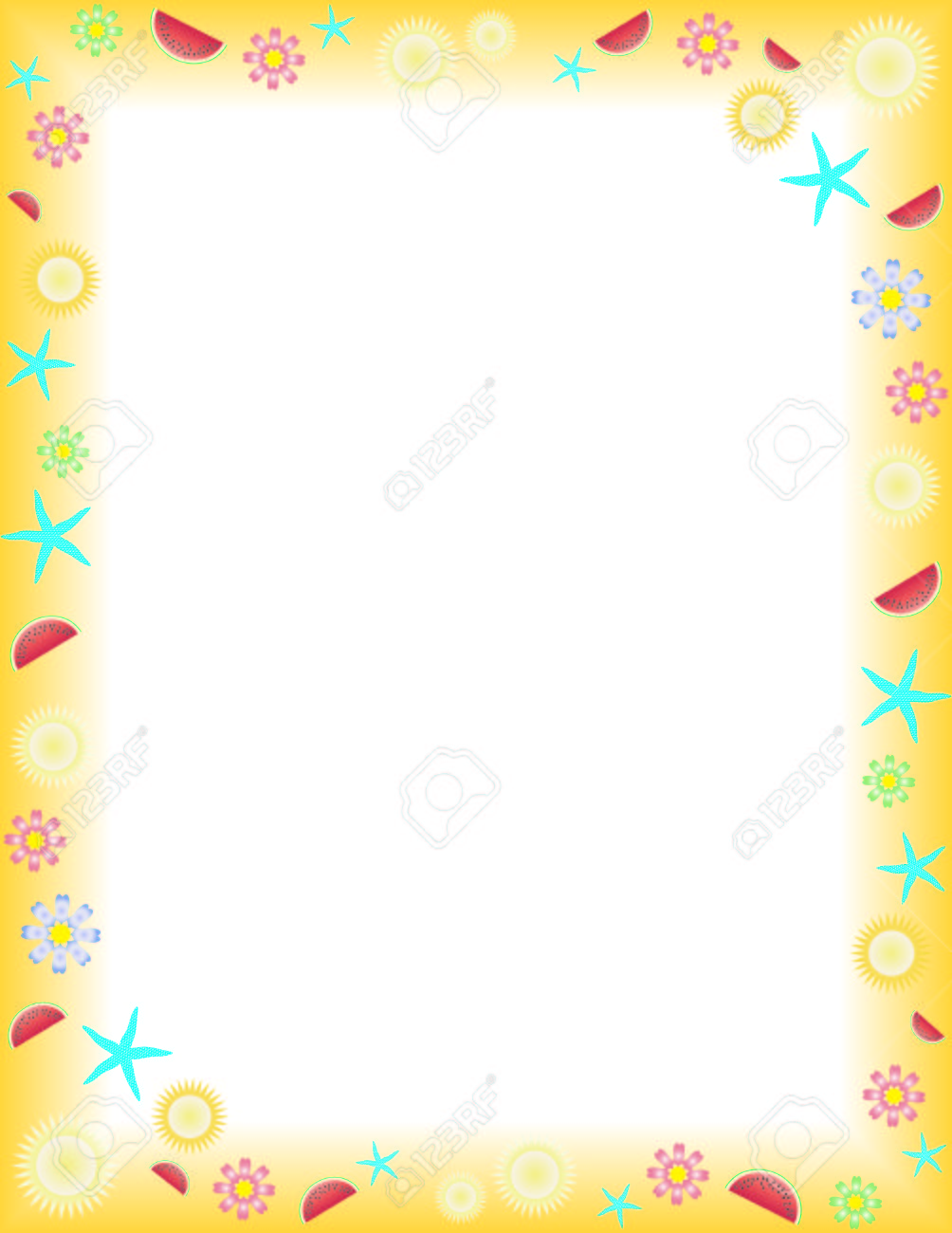 Summer Frame On A Letter Paper Format Royalty Free Cliparts, Vectors ...