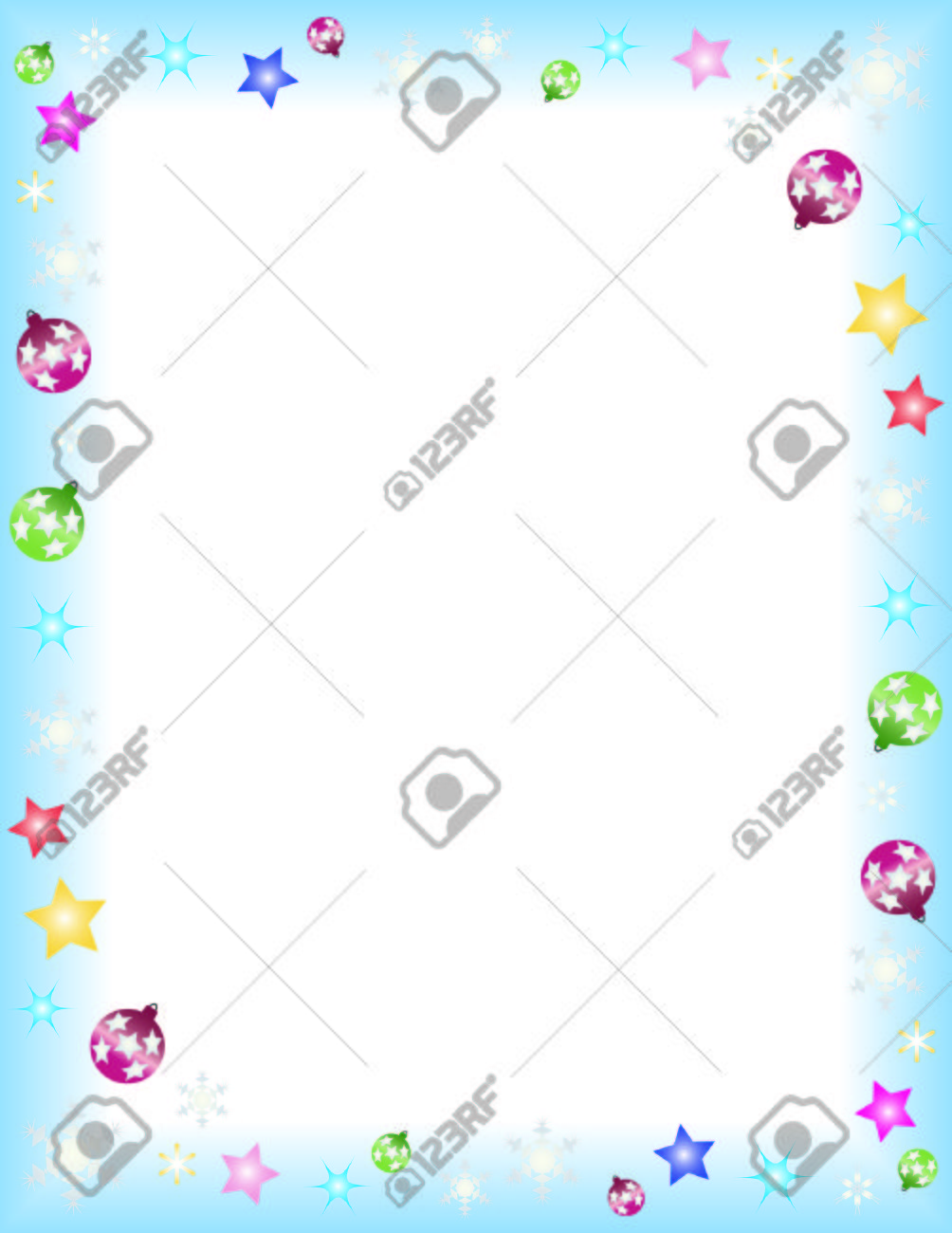 Winter Theme Frame On A Letter Paper Format Royalty Free Cliparts ...