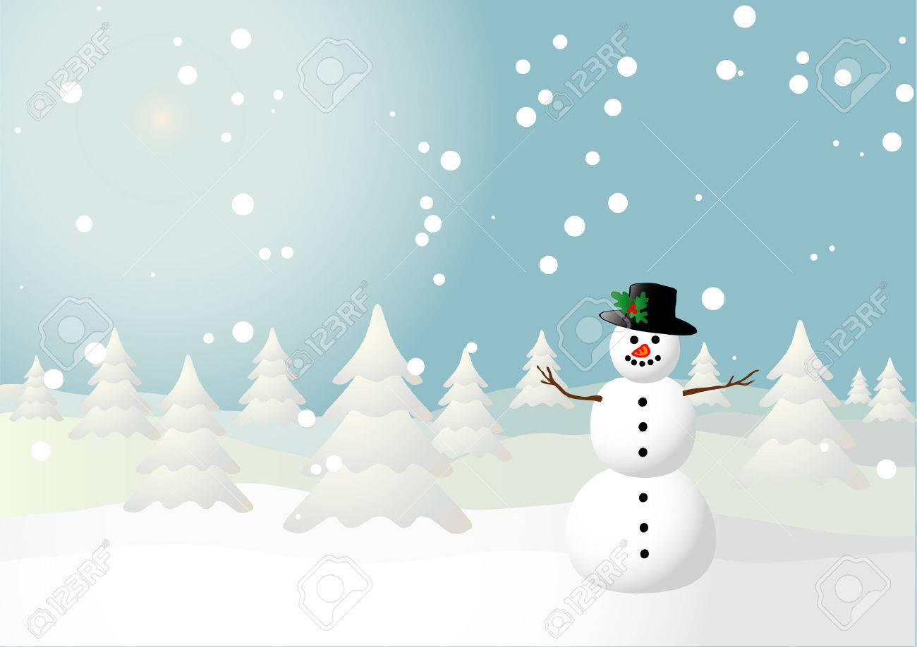 Vector illustration of a snowman on a snowy field Stock Vector - 3937059