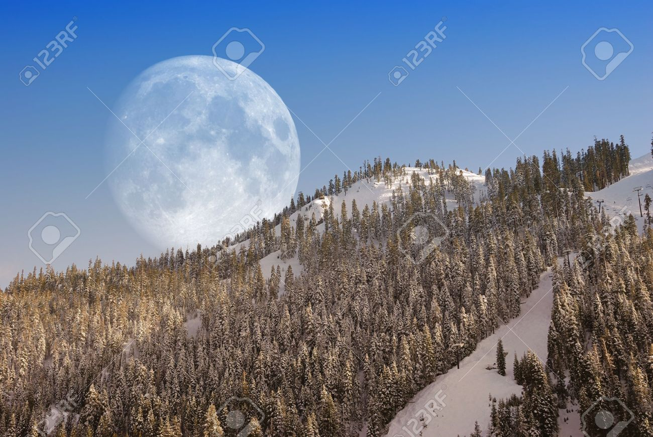 Big Moon over mountain in afternoon light. Stock Photo - 7016702