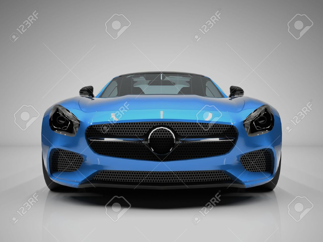 Sports Car Front View The Image Of A Sports Blue Car On A White