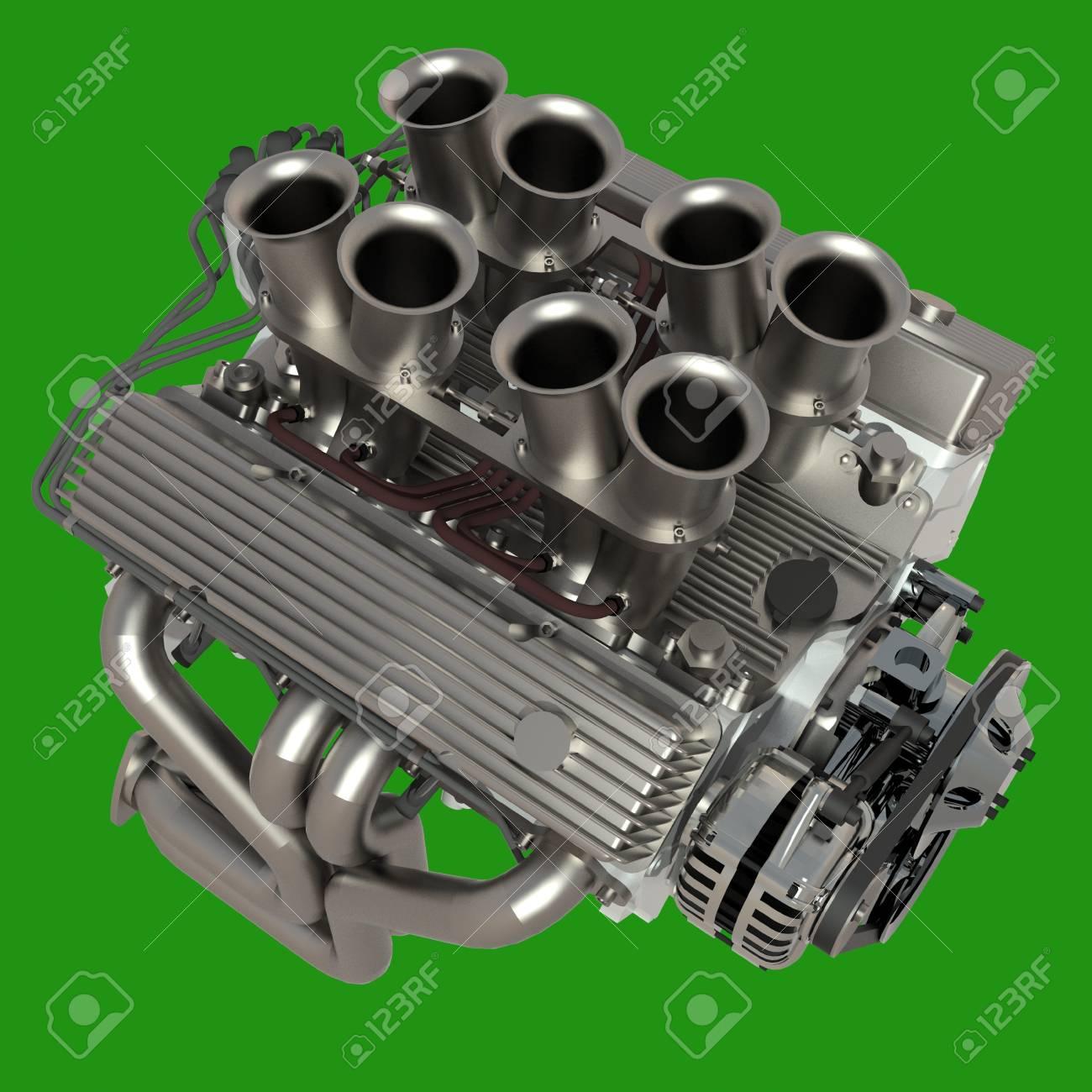 Auto-Motor. Konzept Des Modernen Automotor Auf Grünem Hintergrund ...
