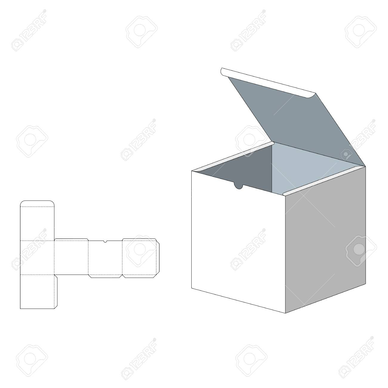 Box With Die Cut Template Packing For Food Gift Or Other Products
