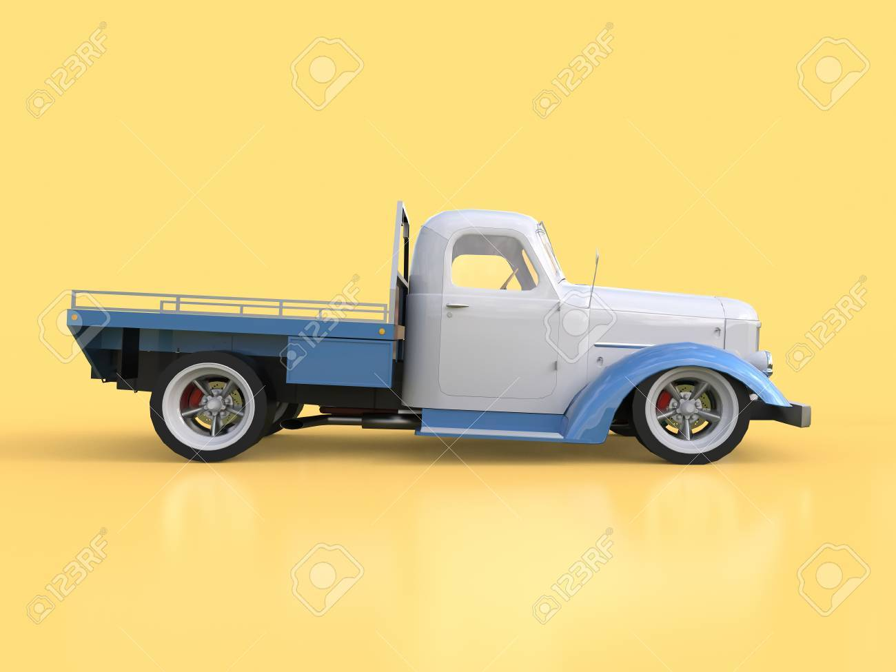 Old Restored Pickup. Pick-up In The Style Of Hot Rod. 3d ...