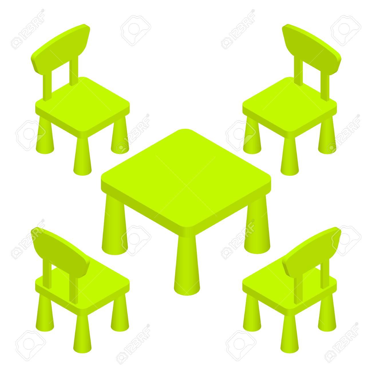 Los Niños Juegan Isométricas Habitación Interior Muebles - Mesa Y ...