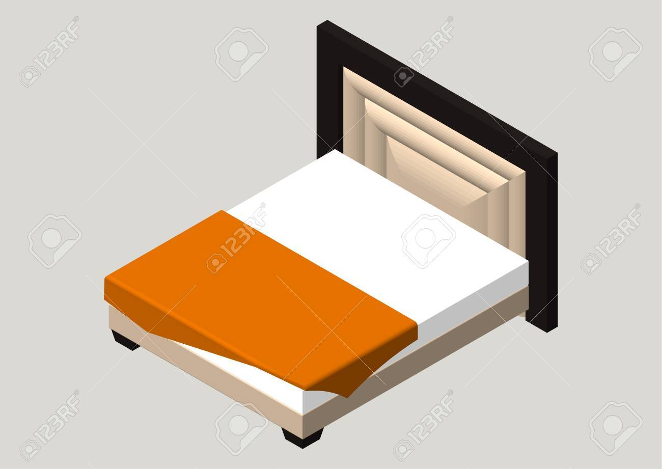 Isometric Home Furniture Bed Interior Element Bedroom Vector
