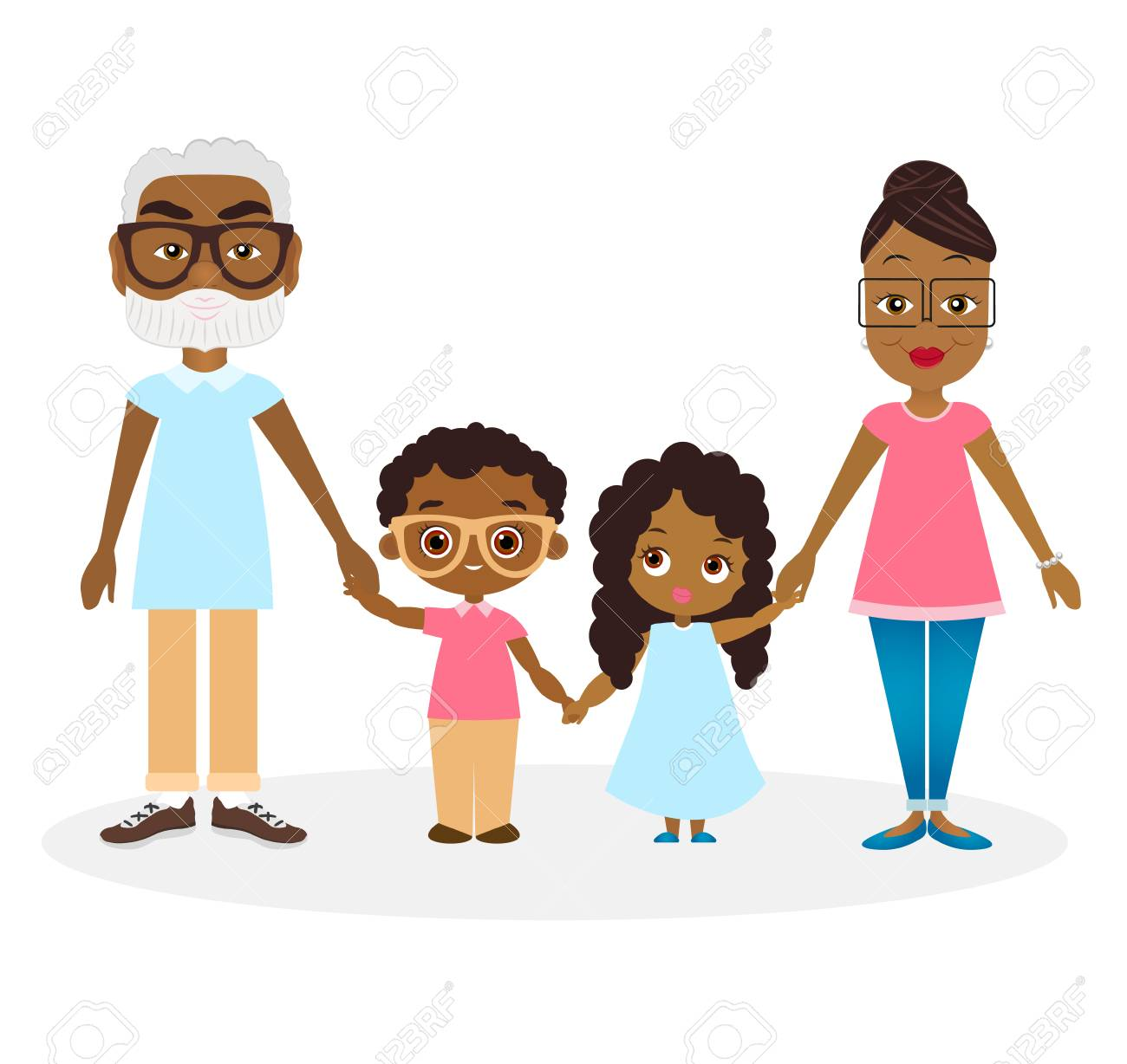 African American family - vector clipart