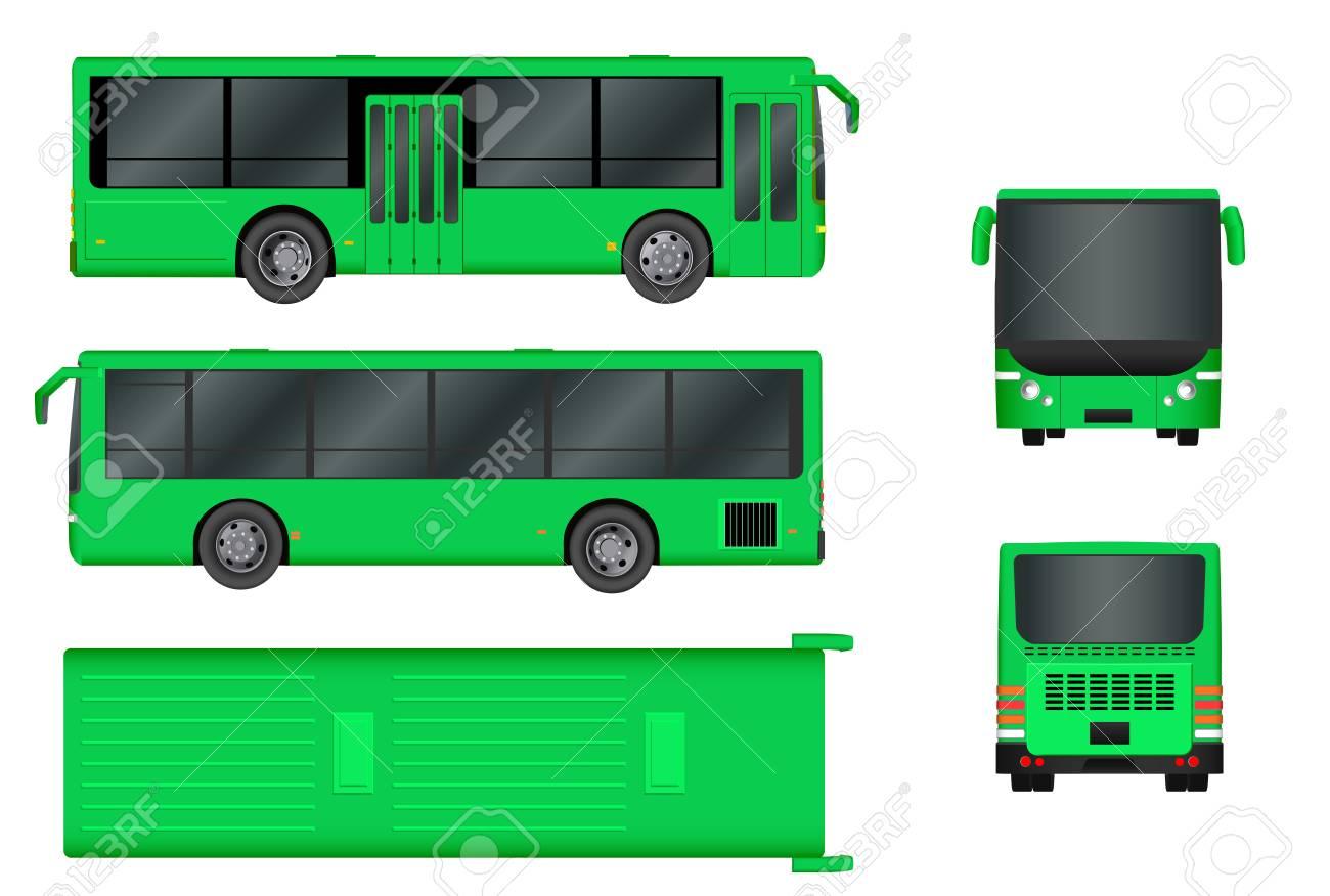 Grüne Stadt Bus Vorlage. Personenbeförderung Von Allen Seiten Von ...