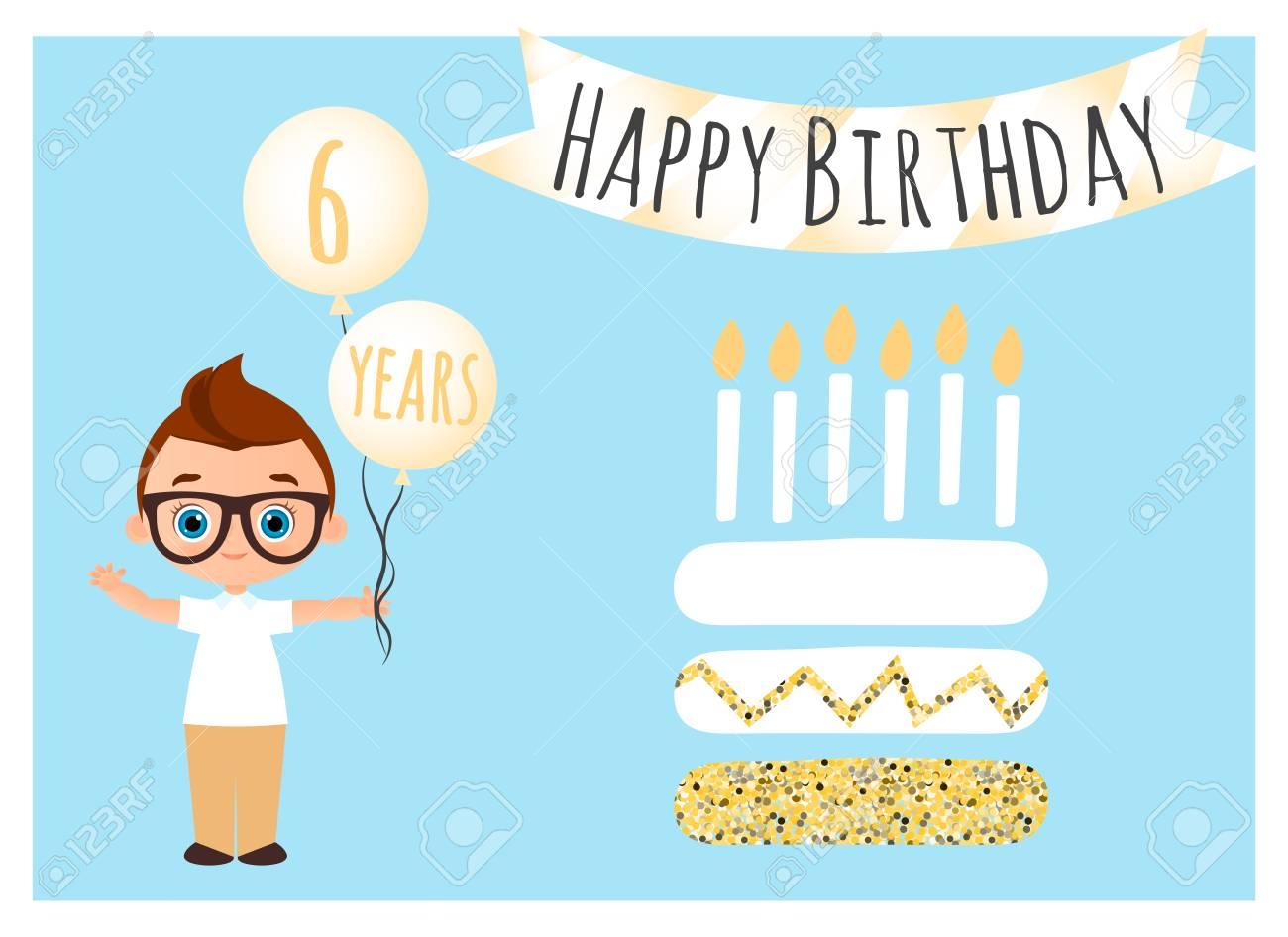 Feliz Cumpleaños Postal Fondo De Feliz Cumpleaños Para Cartel Banner Tarjeta Invitación Folleto Young Boy Tiene Bolas Con Felicitaciones Vector