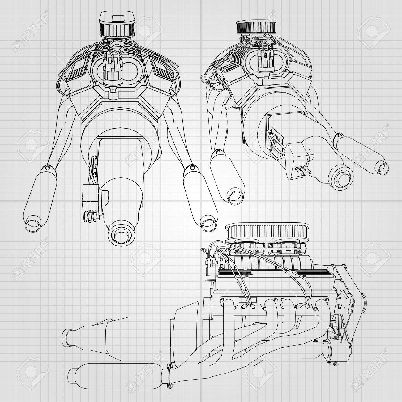 Decorative Illustration Concept Of A Powerful Car Engine. The ...