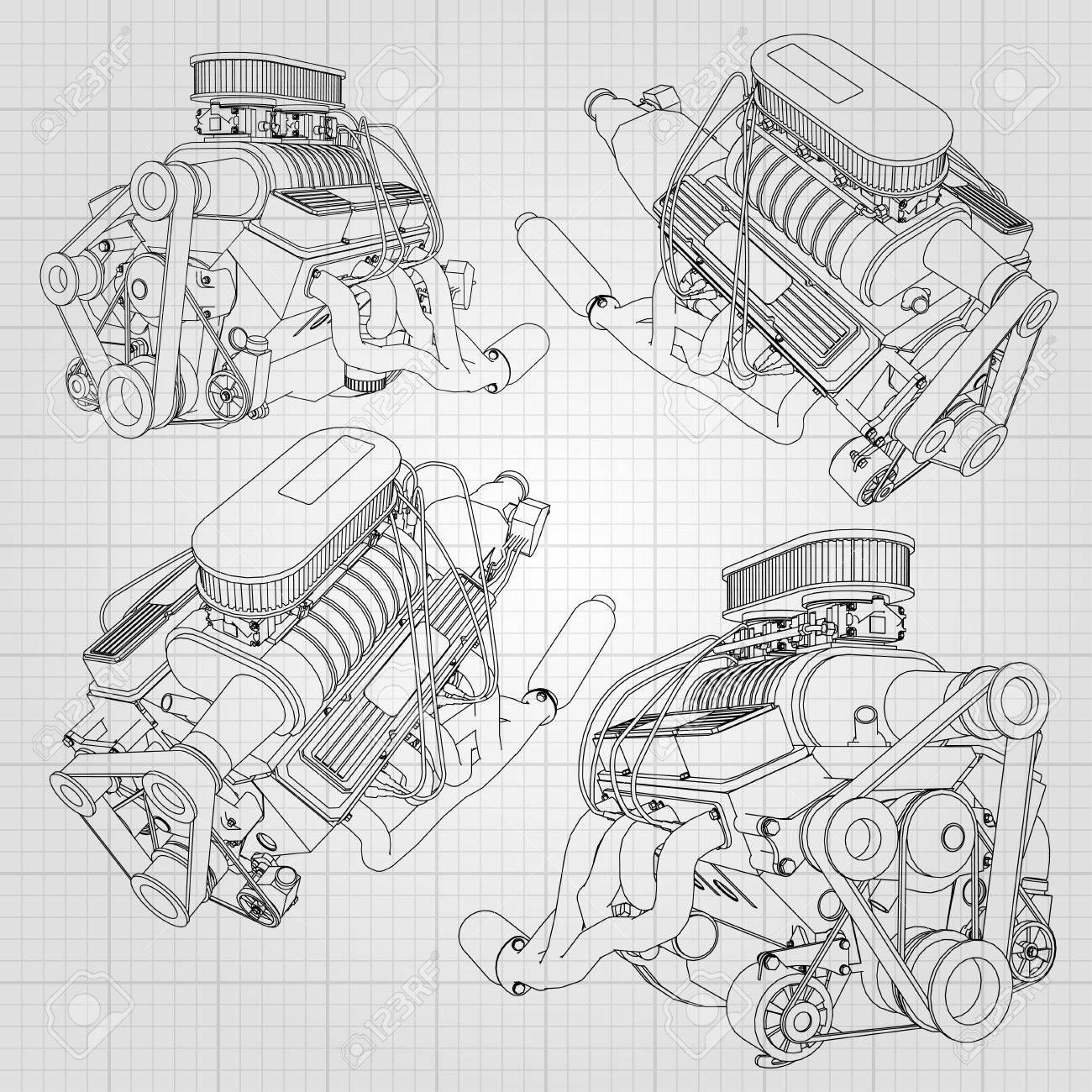 Atemberaubend Auto Motor Skizze Bilder - Elektrische Schaltplan ...
