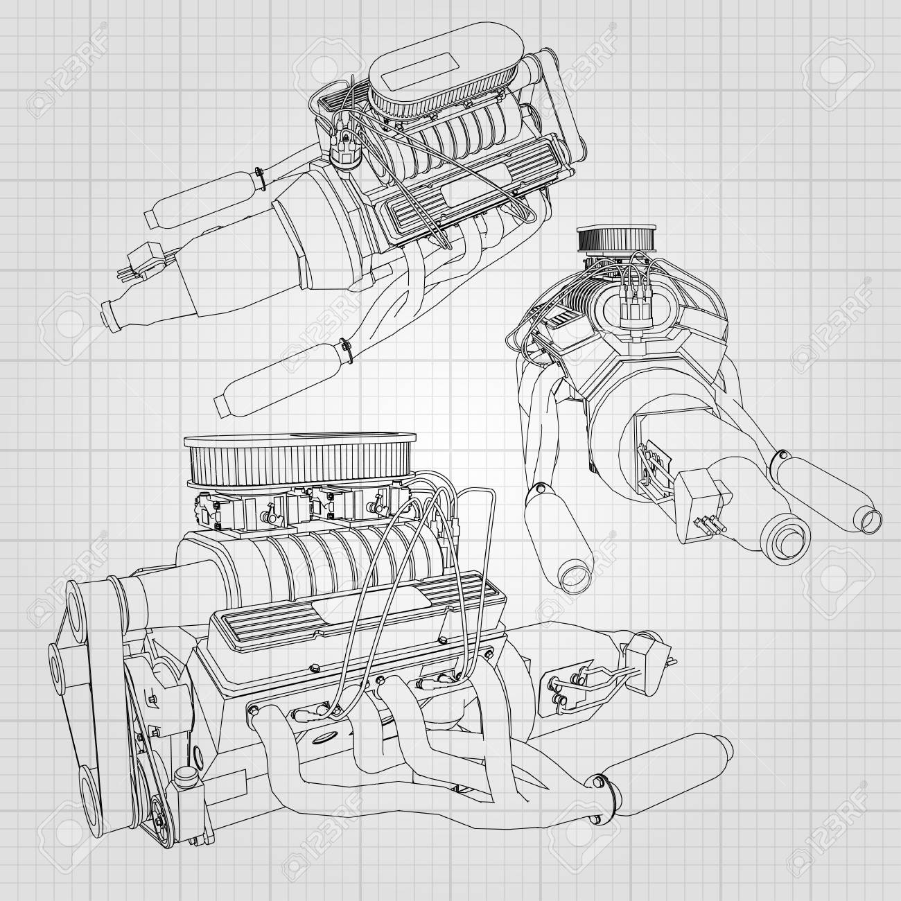 A Set Of Several Types Of Powerful Car Engine. The Engine Is ...
