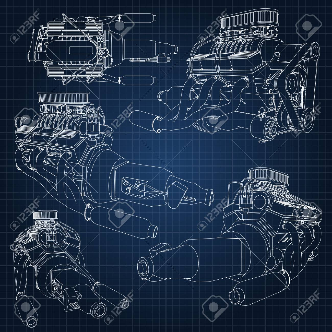 Eine Reihe Von Verschiedenen Arten Von Leistungsstarken Auto-Motor ...