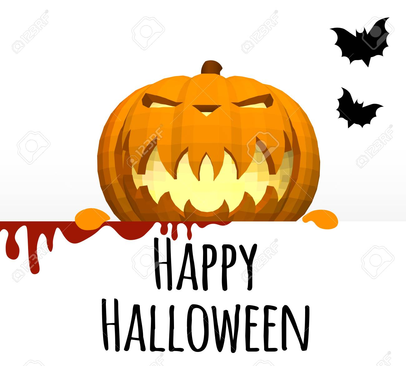 Happy Halloween. A Template On A White Background With A Pumpkin ...