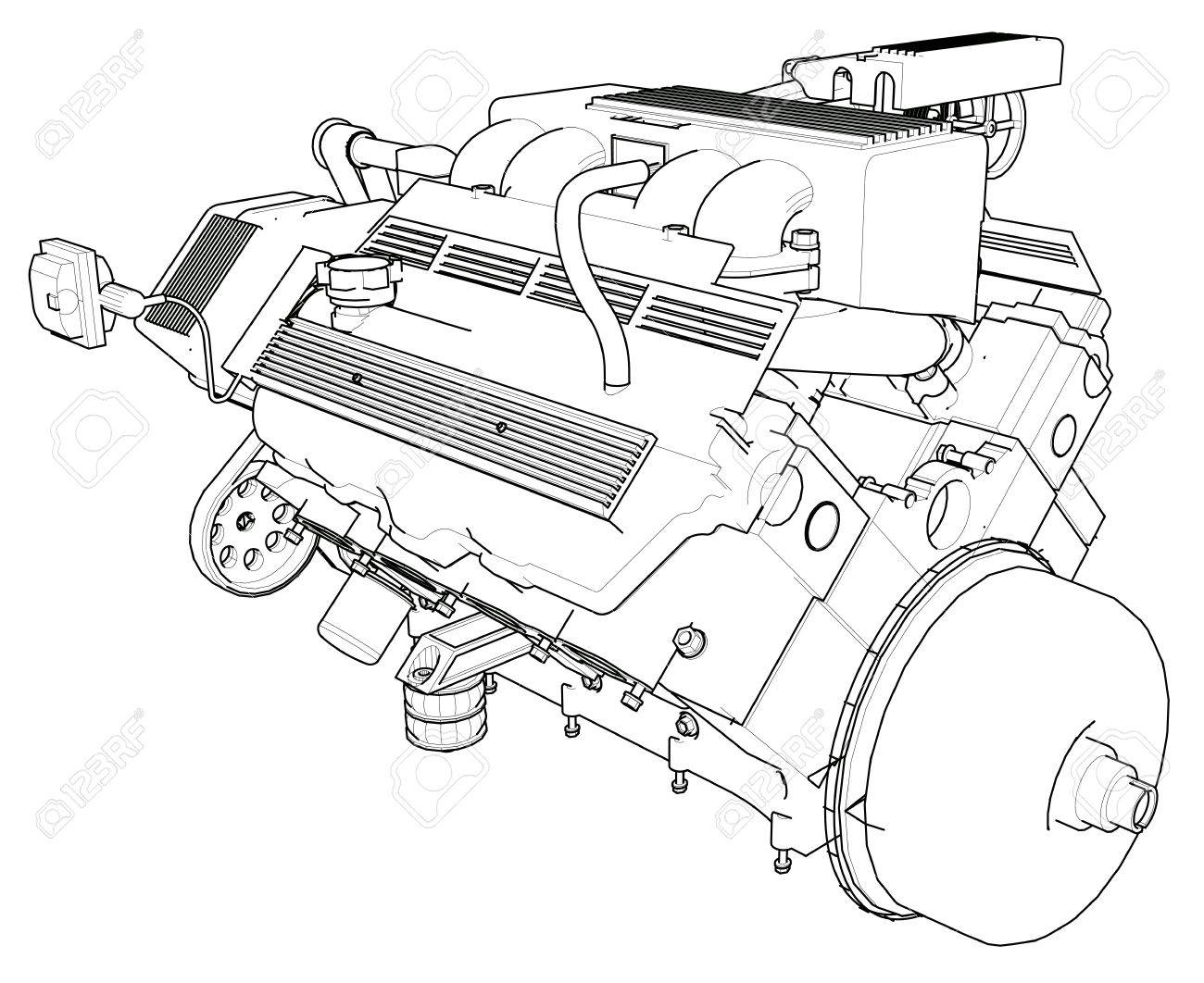 Powerful Car Engine Illustration. Royalty Free Cliparts, Vectors ...