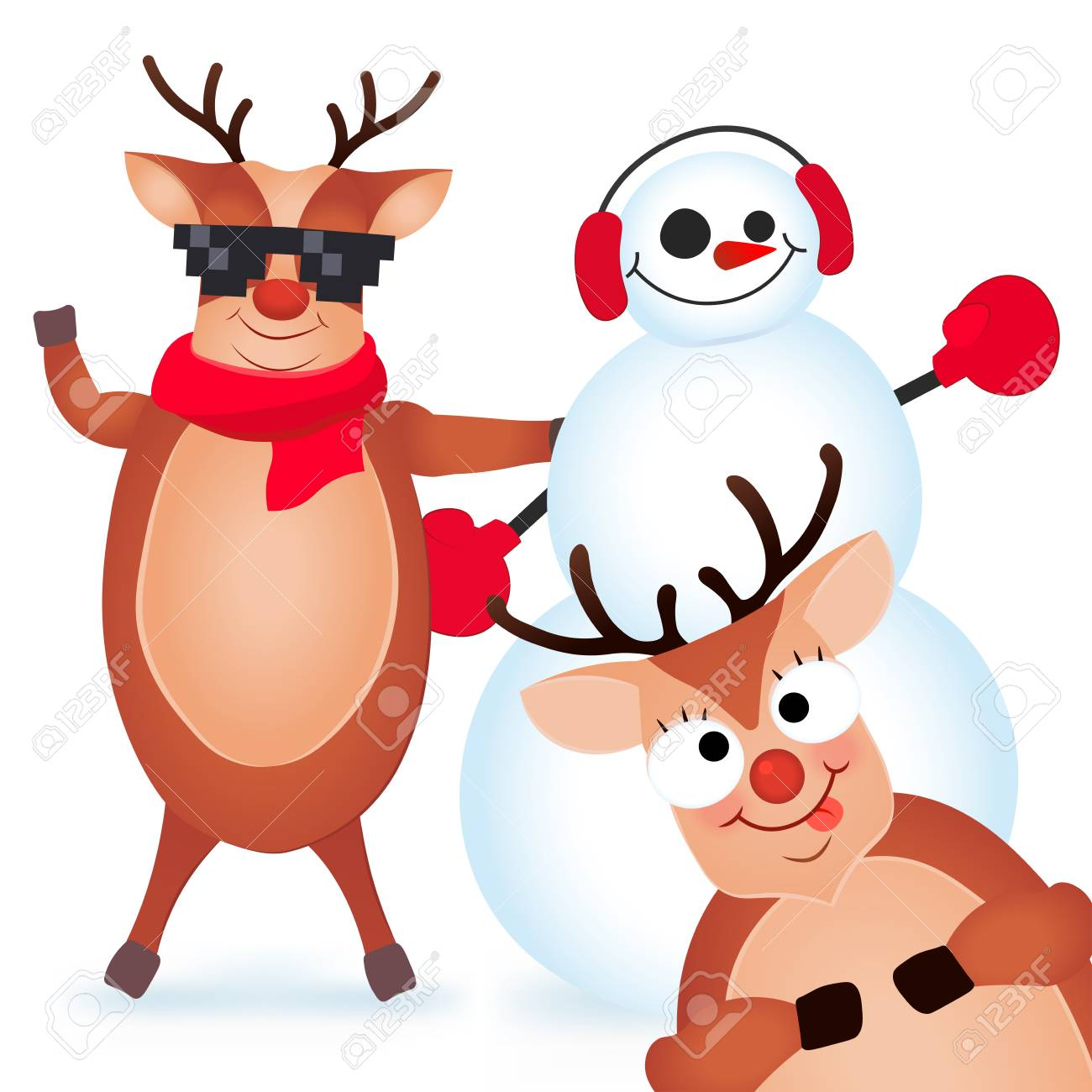 Cute And Funny Christmas Card. Character Deer And Snowman. Vector ...