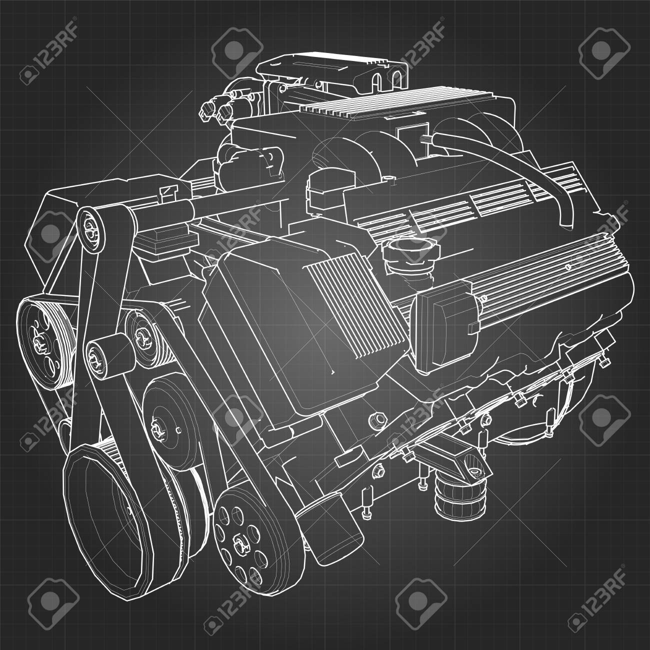 Powerful V8 Car Engine. The Engine Is Drawn With White Lines ...