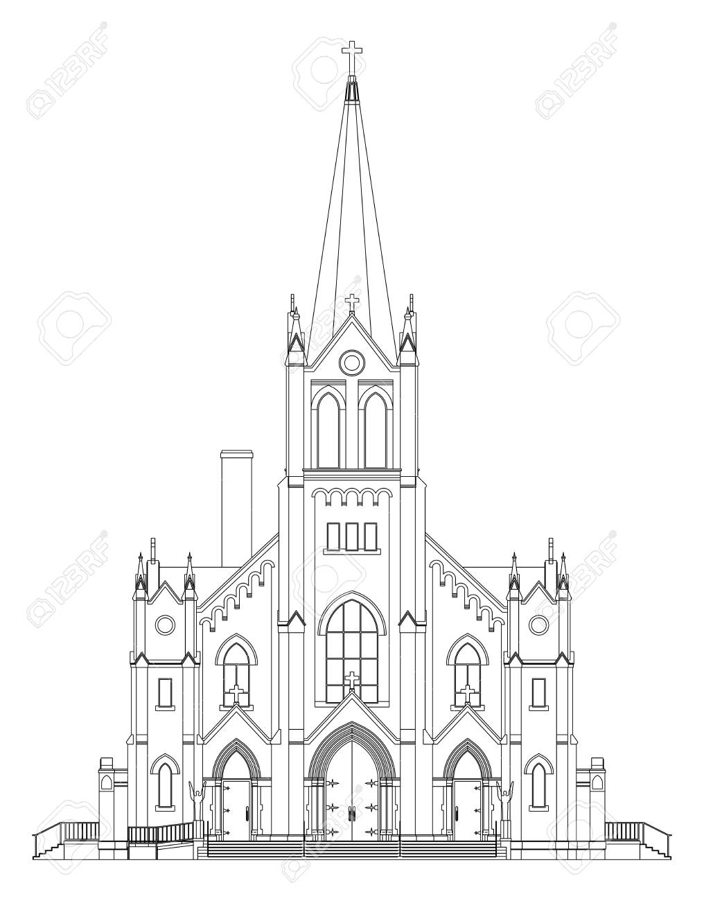 The Building Of The Catholic Church Views From Different Sides Royalty Free Cliparts Vectors And Stock Illustration Image 94184517