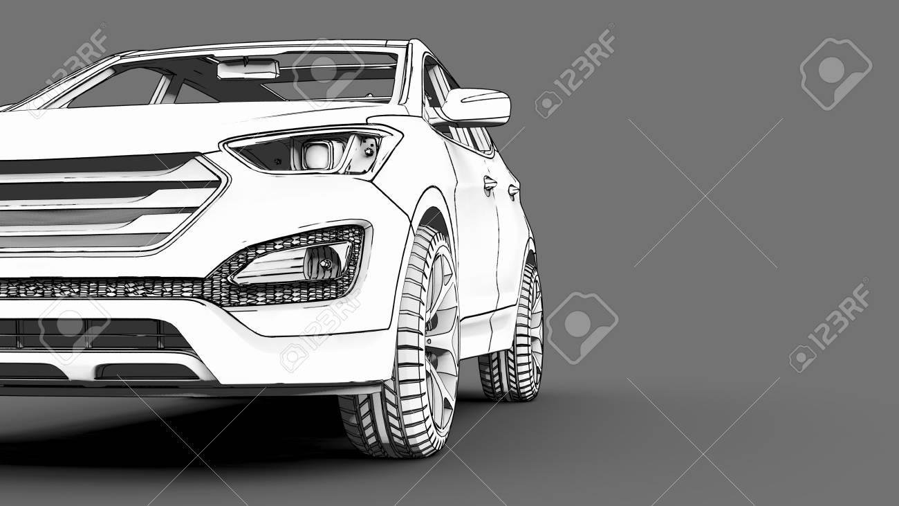 Compact City Crossover White Color On A Gray Background Monochrome Schematic Image With Shadows