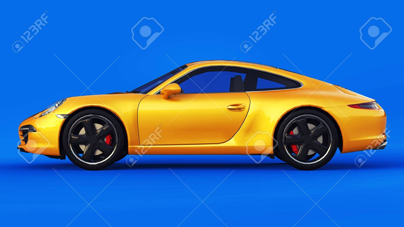 Yellow Porsche 911 Three Dimensional Raster Illustration On A