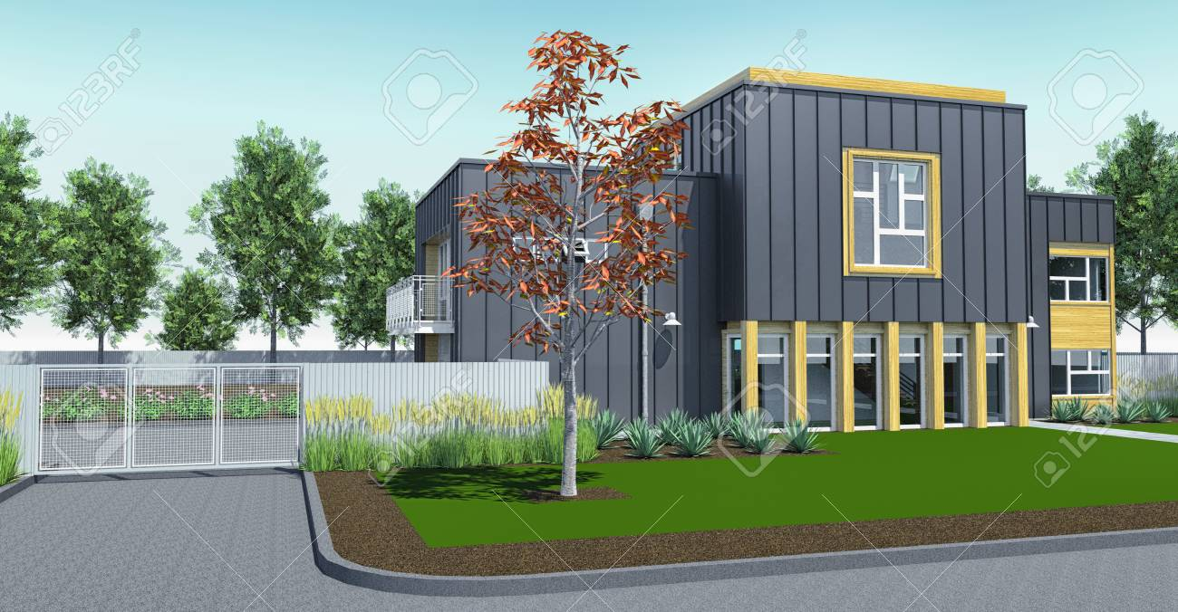 Modern house with garden and garage 3d rendering stock photo 100661895